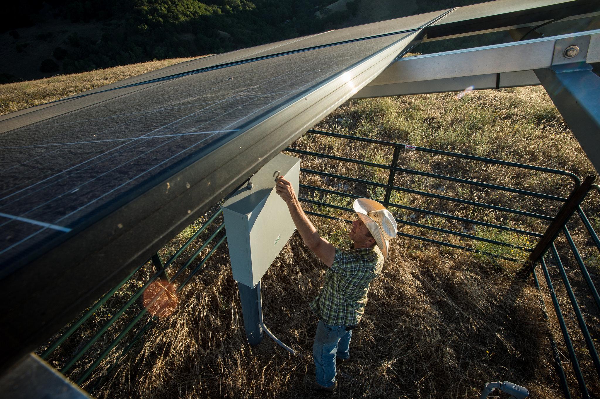 Farmer installs solar panels