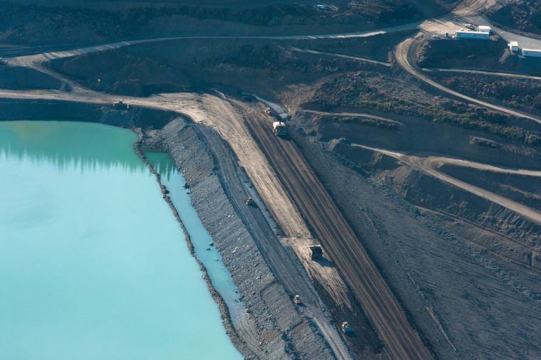 Tailings dam at the Red Chris mine