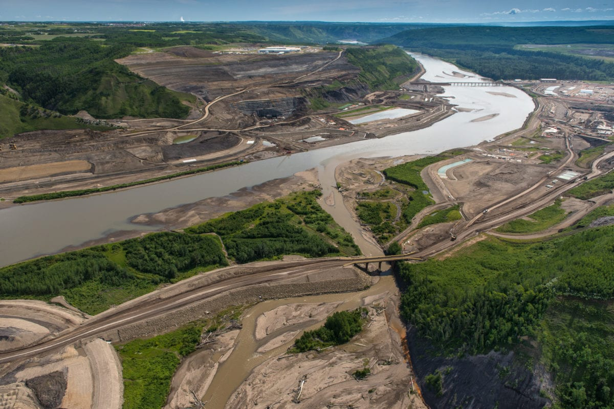 Site C construction along the Peace River. B.C.