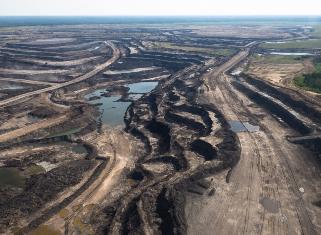 Open-pit mining in the Alberta oilsands