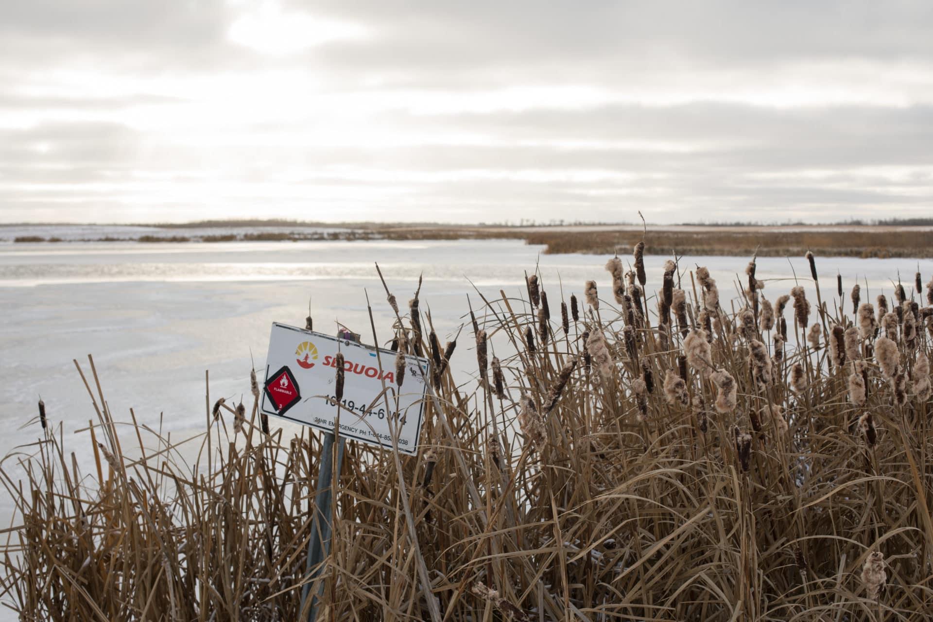 Inaccessible well site in Wetaskiwin, Alberta on Monday, November 5, 2018. Amber Bracken