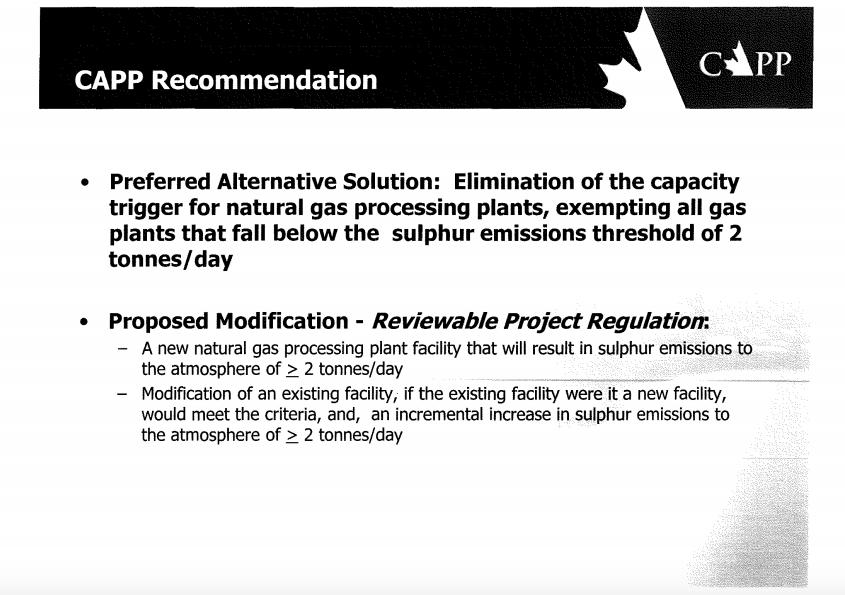 CAPP slide natural gas exemption BC