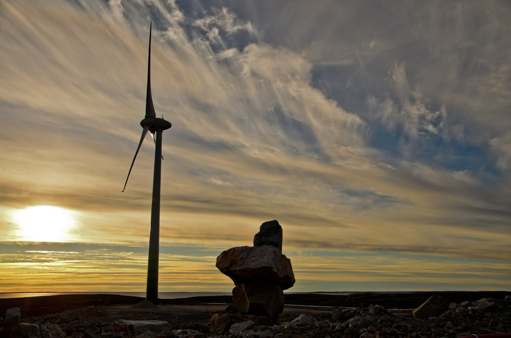 A wind turbine at Diavik diamond mine in the Northwest Territories.
