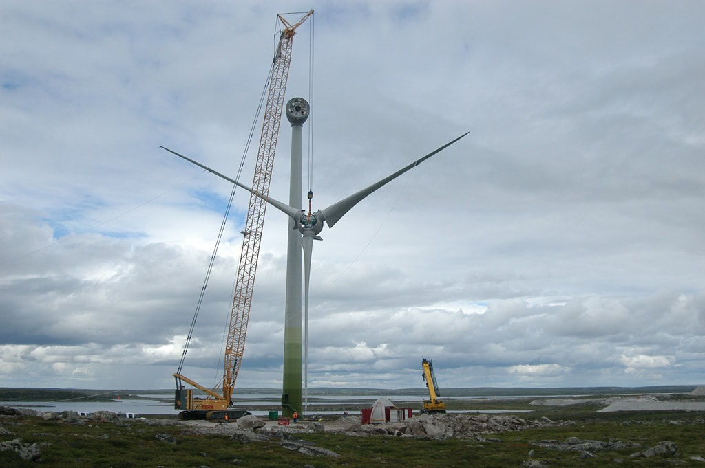 A wind turbine is installed at Diavik diamond mine.