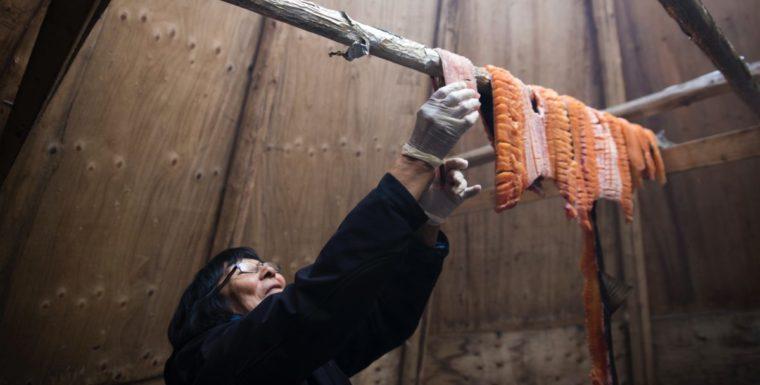 Dora Blondin hangs trout from Great Bear Lake
