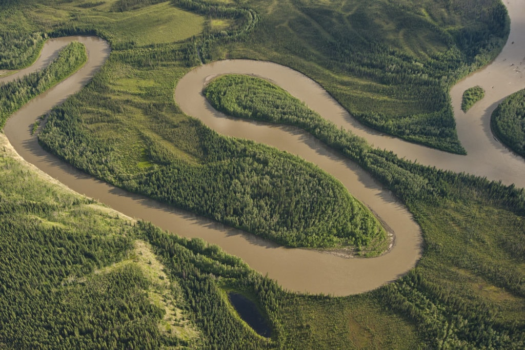 Aerial view of the Stewart River in Yukon