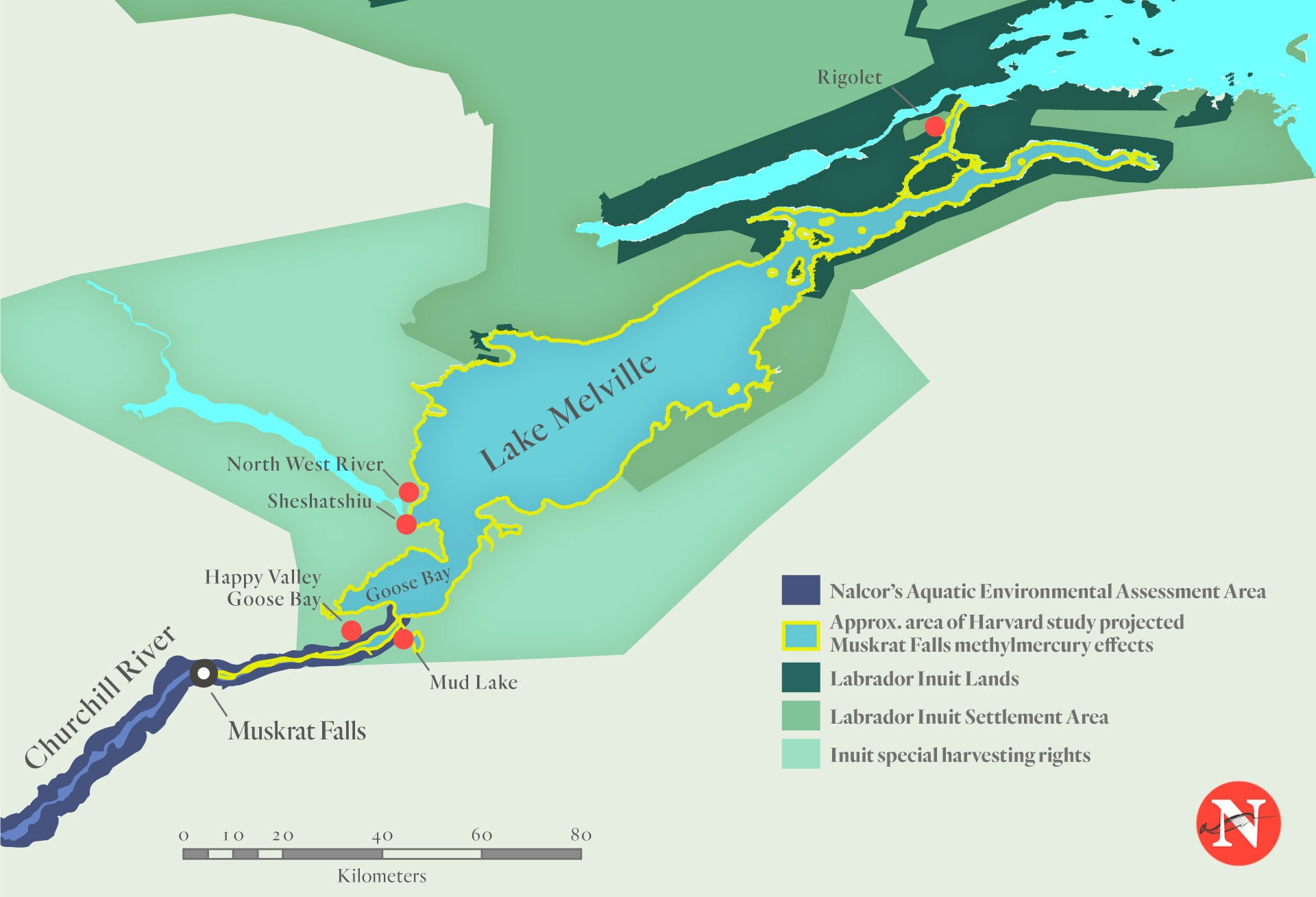 Muskrat Falls Mercury Map