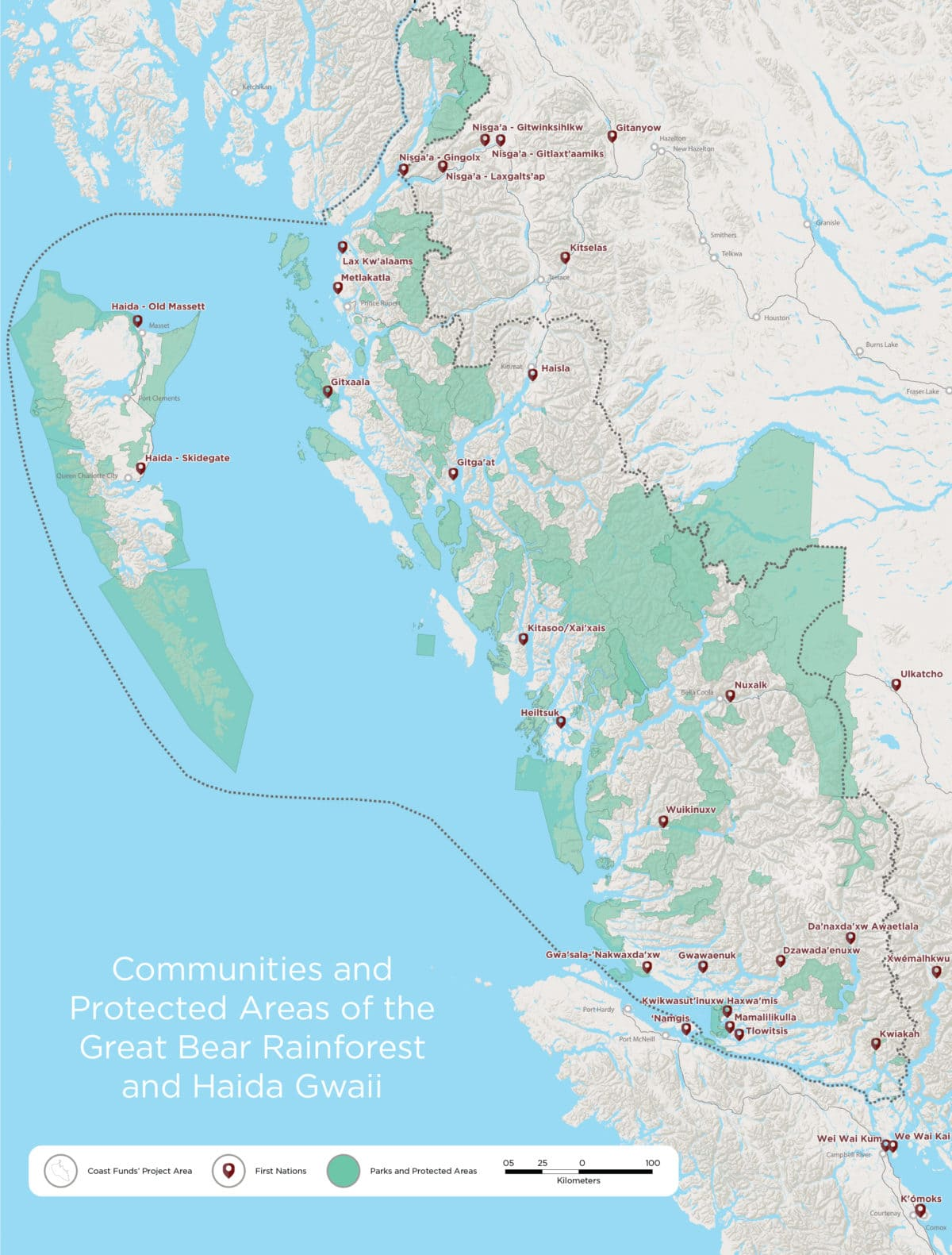 Communities and protected areas of the Great Bear Rainforest and Haida Gwaii