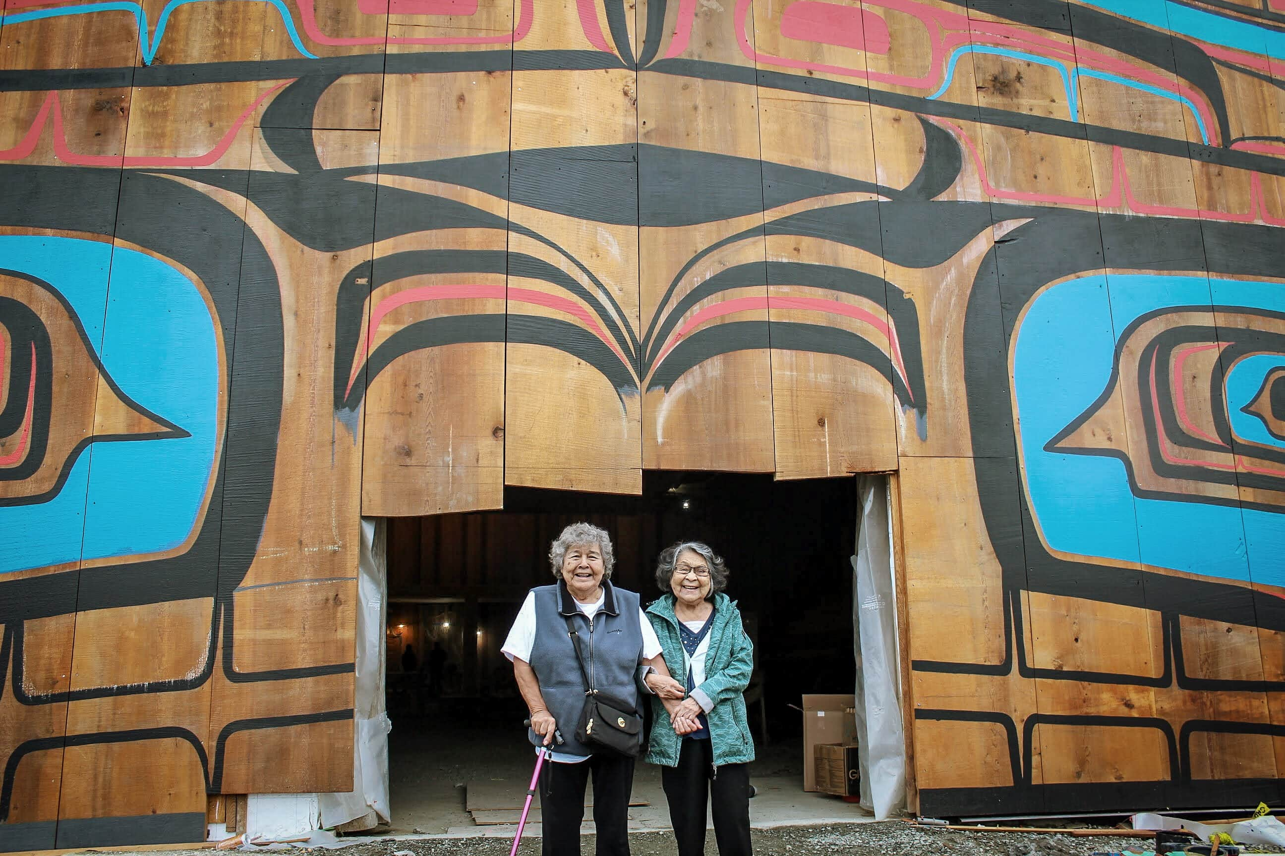 Two Heiltsuk elders big house