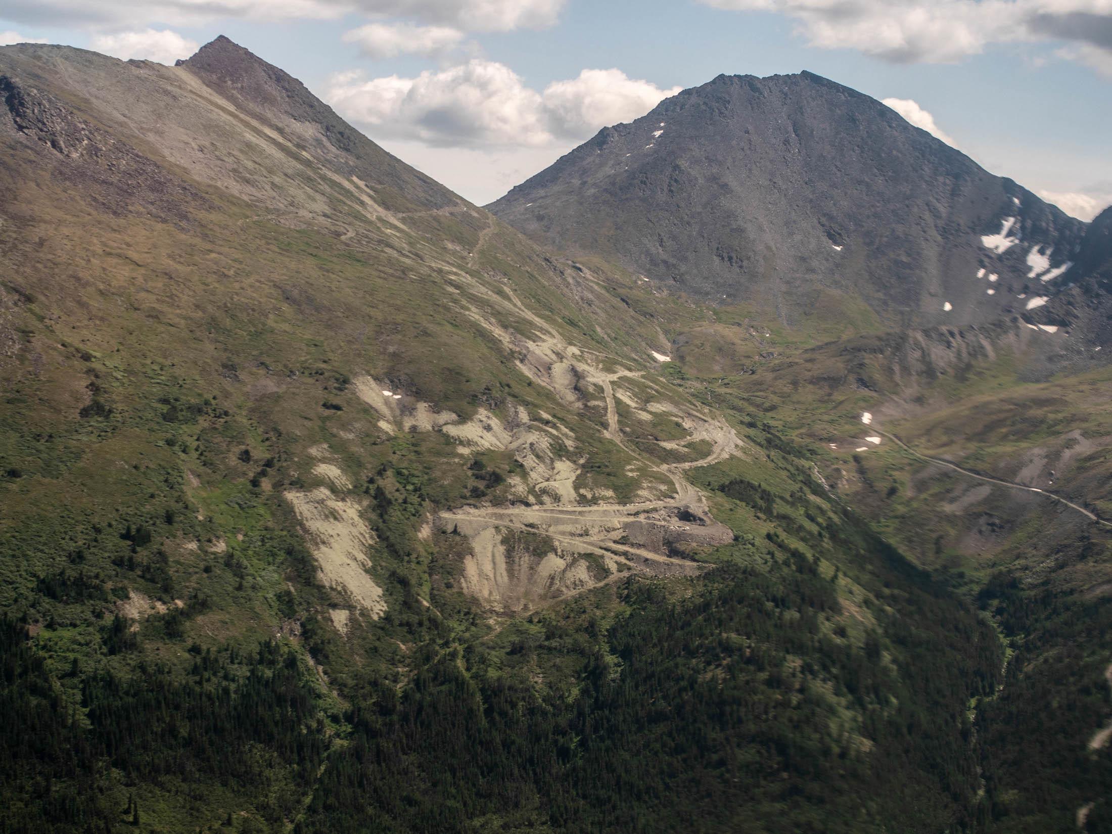 Jade placer mining Tahltan territory aerial shot