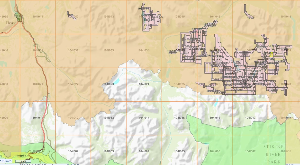 Jade Claims near Dease Lake_source Mineral Titles Online