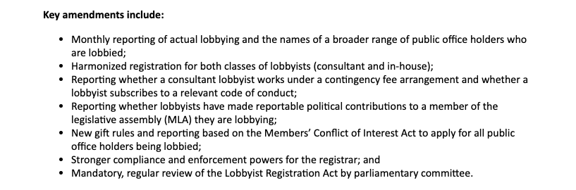 B.C. Lobbyist Registration Act amendments 2018