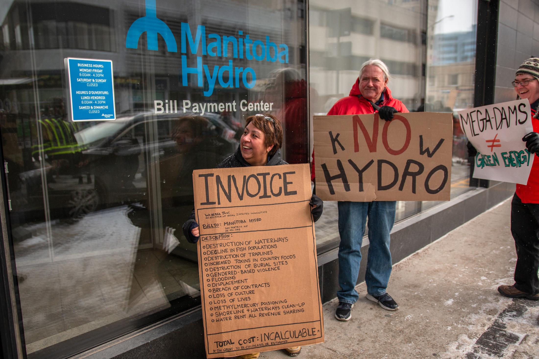 Manitoba Hydro protest Invoice