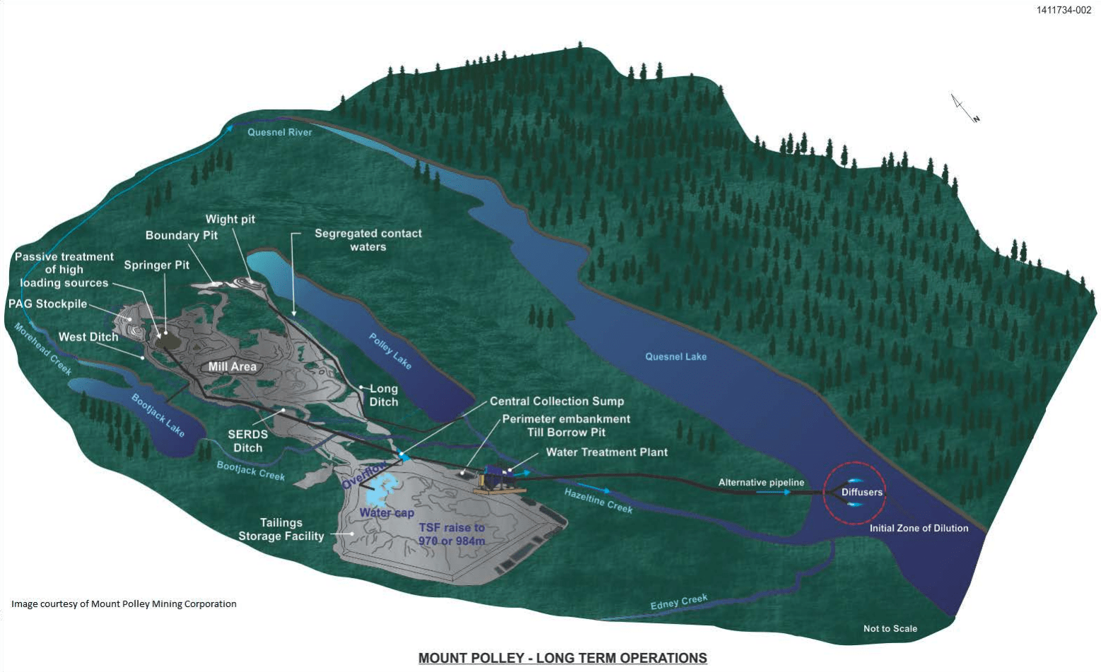 Mount Polley discharge pipe Quesnel Lake Map