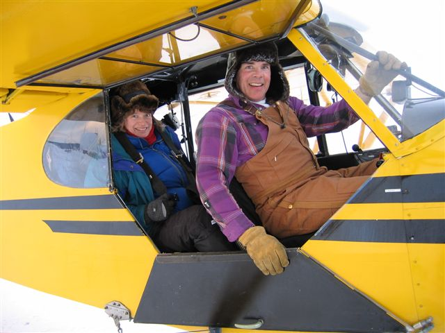 Justina Ray preparing for an aerial survey of Ontario's boreal forest in 2012
