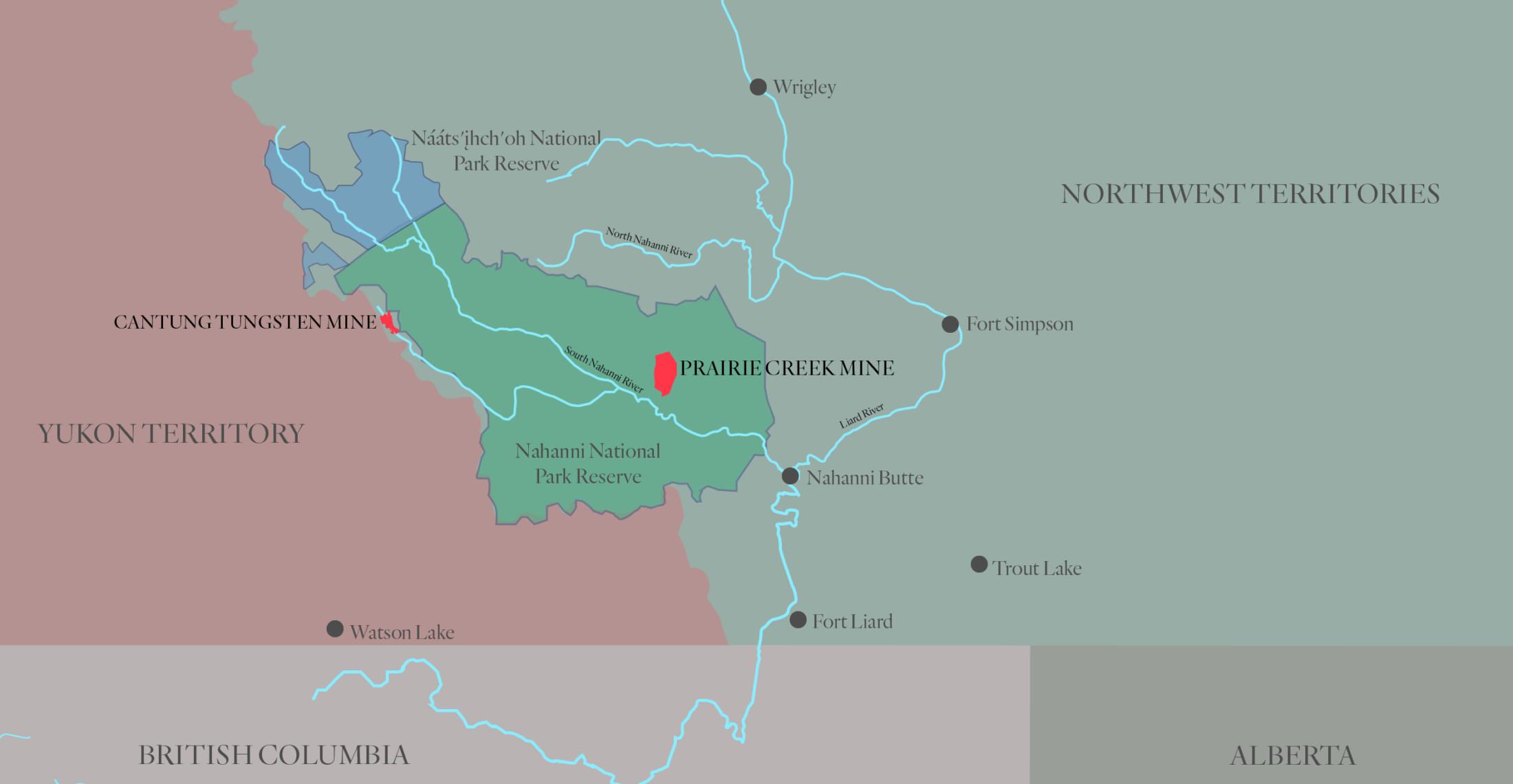 Nahanni Map Prairie Creek Mine