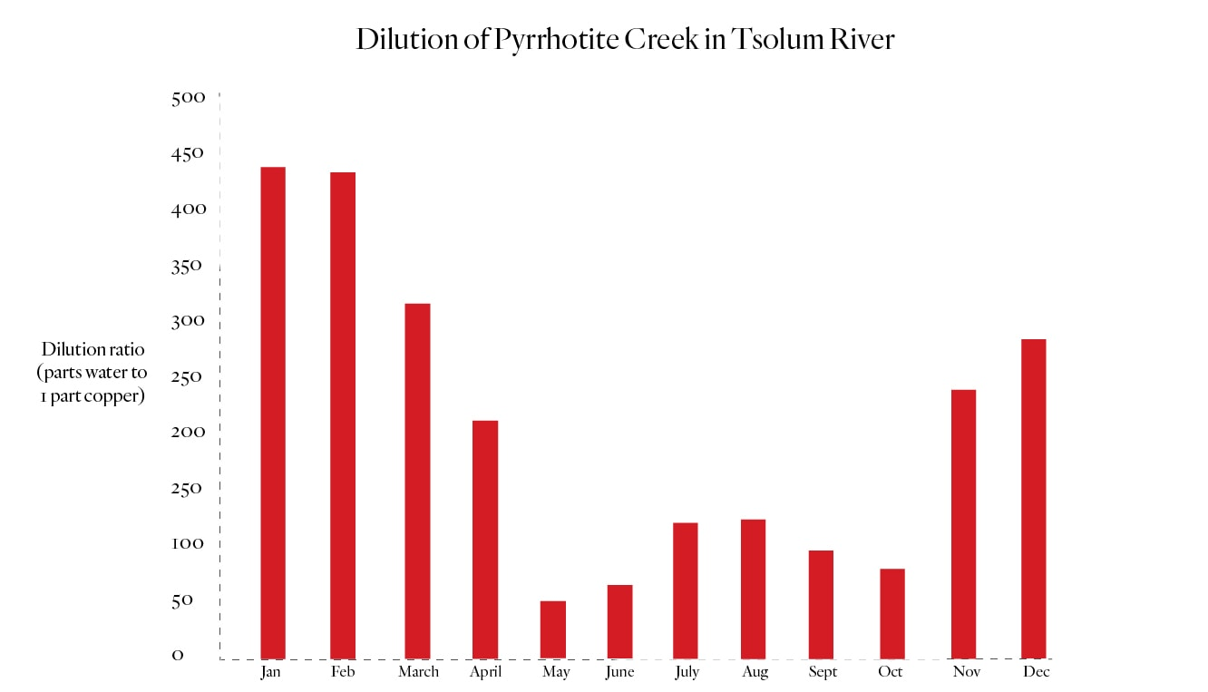 Tsolum River copper dilution ratio