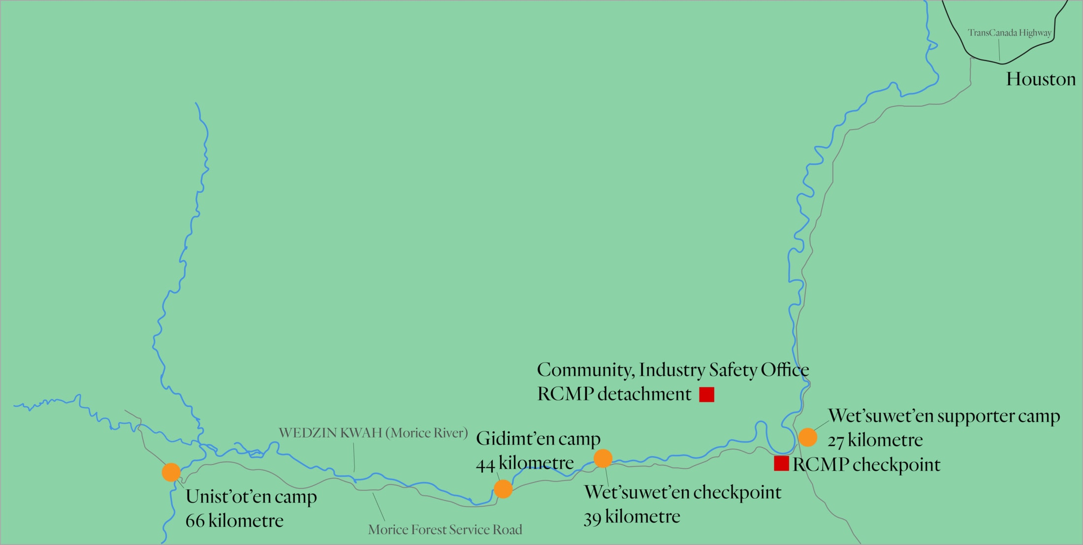 Wet'suwet'en Checkpoint map