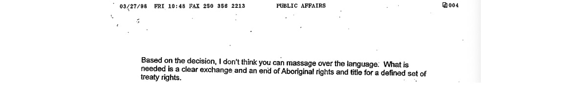 End of Aboriginal rights quote