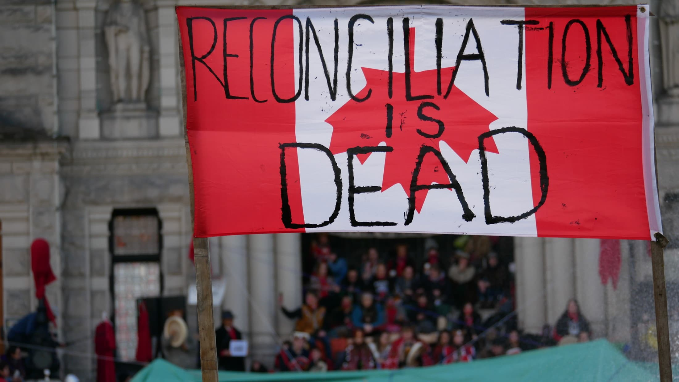 Reconciliation is dead sign BC Legislature Wet'suwet'en solidarity action