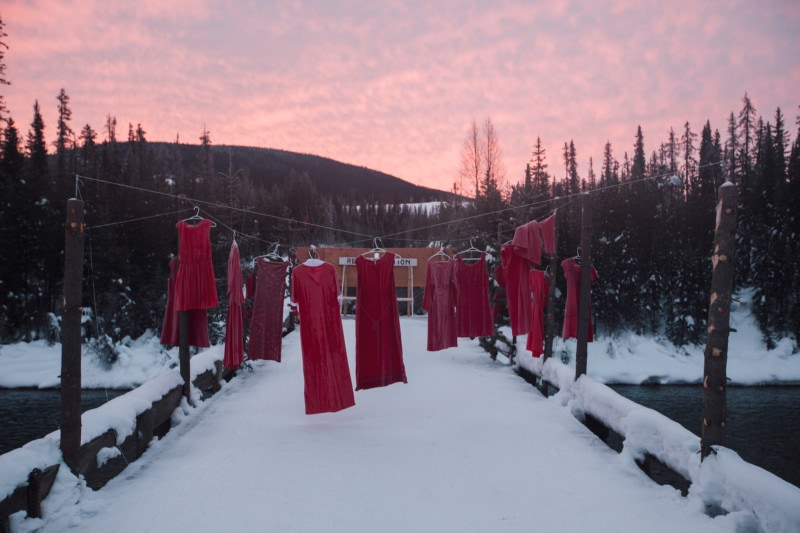 Unist'ot'en camp red dresses MMIWG