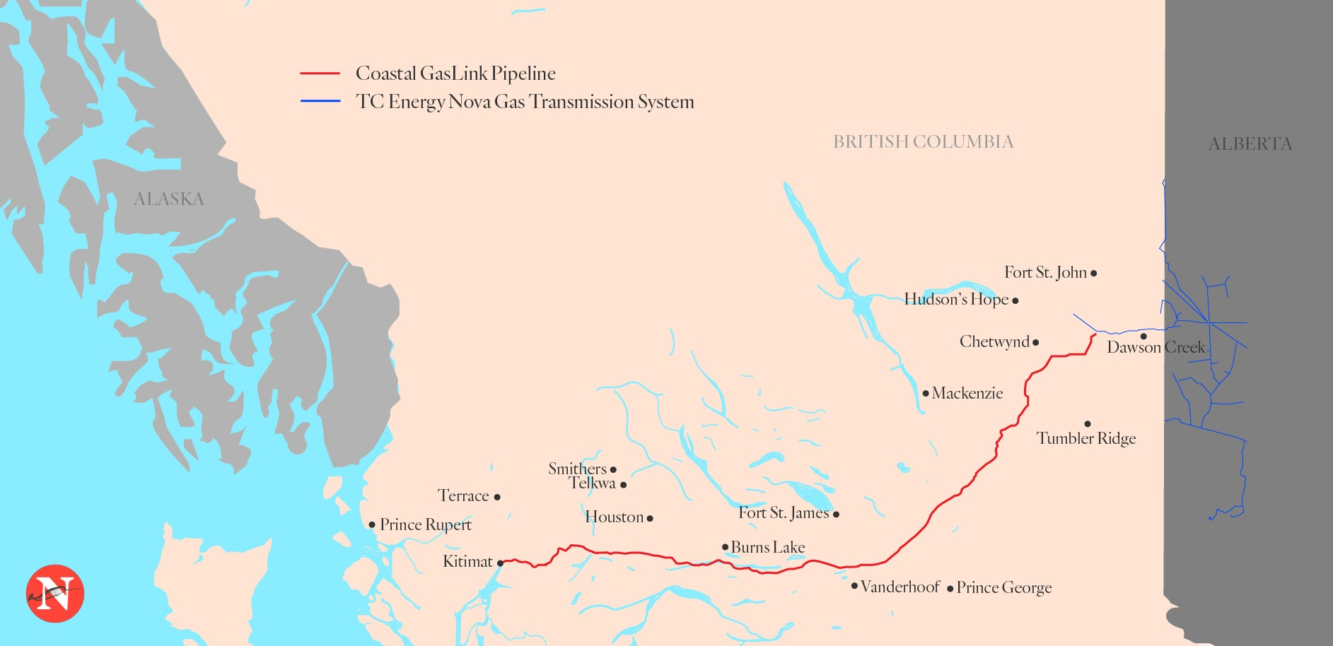 Coastal GasLink Pipeline Map