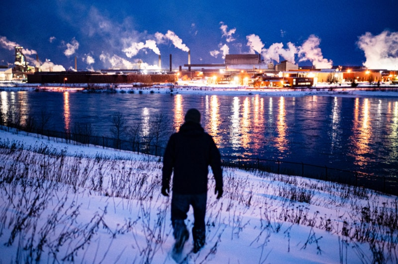 Selva Rasaiah observes the visible emissions emanating from the Algoma Steel plant