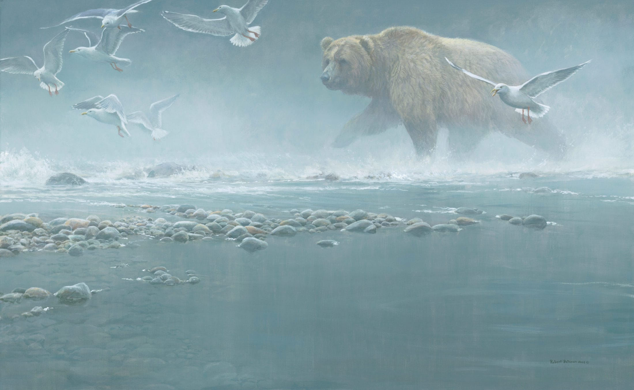 Robert Bateman, Above the Rapids – Gulls & Grizzly