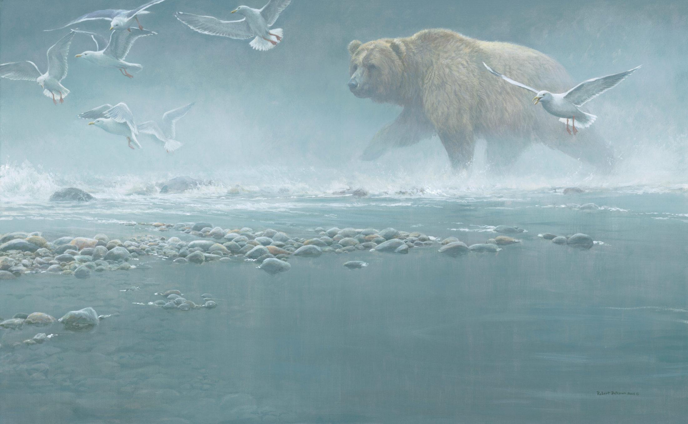 Robert Bateman, Above the Rapids – Gulls & Grizzly