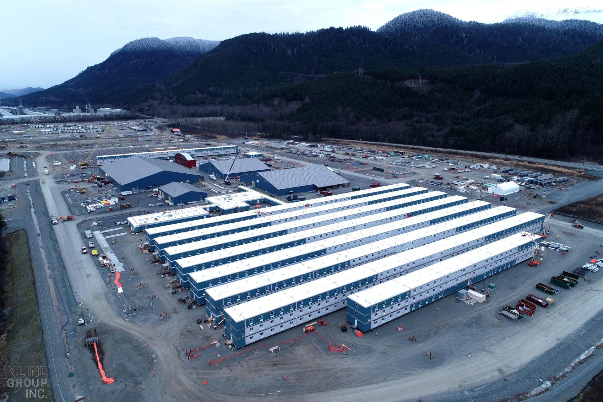 Construction of the Cedar Valley Lodge, worker housing at the LNG Canada project in Kitimat, B.C.