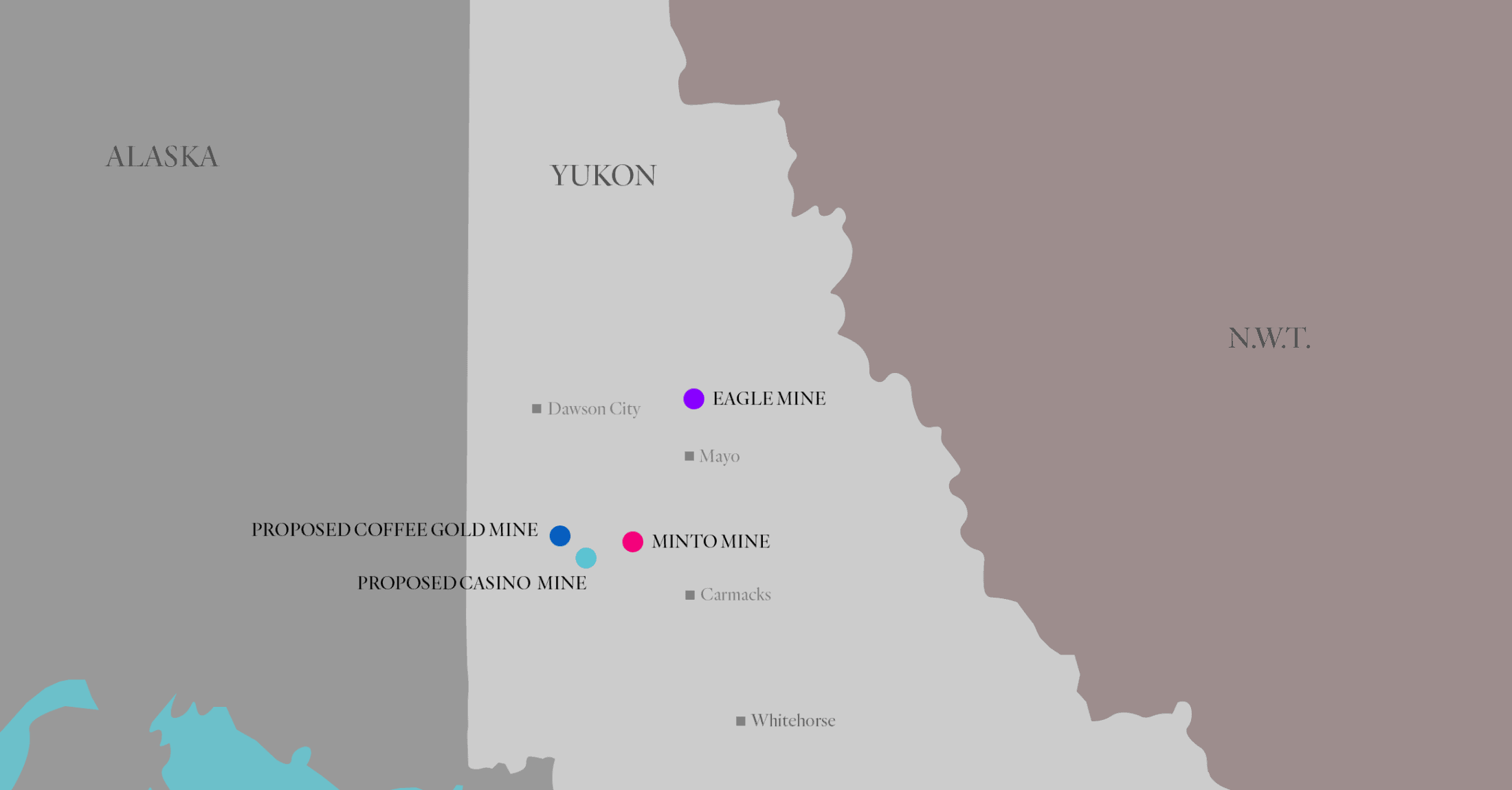 Map of mines in Yukon