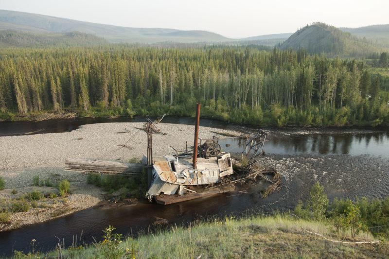 Fortymile River Yukon dredge placer mining