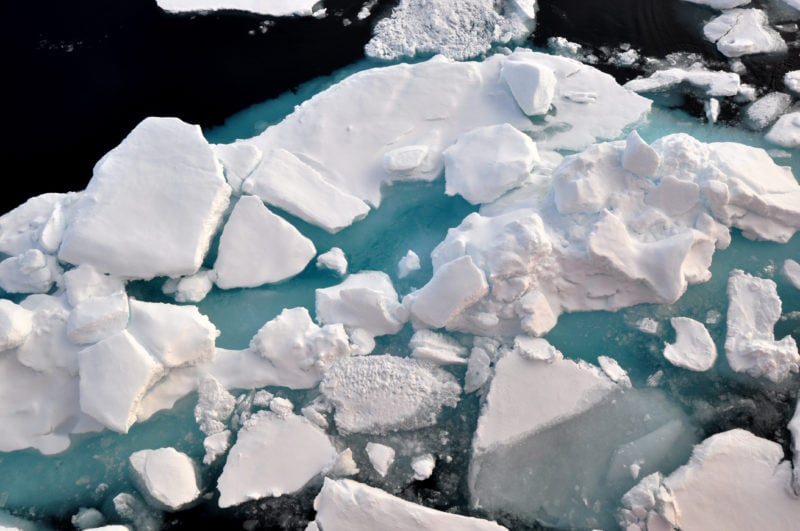 Arctic Ocean ice floe acidification