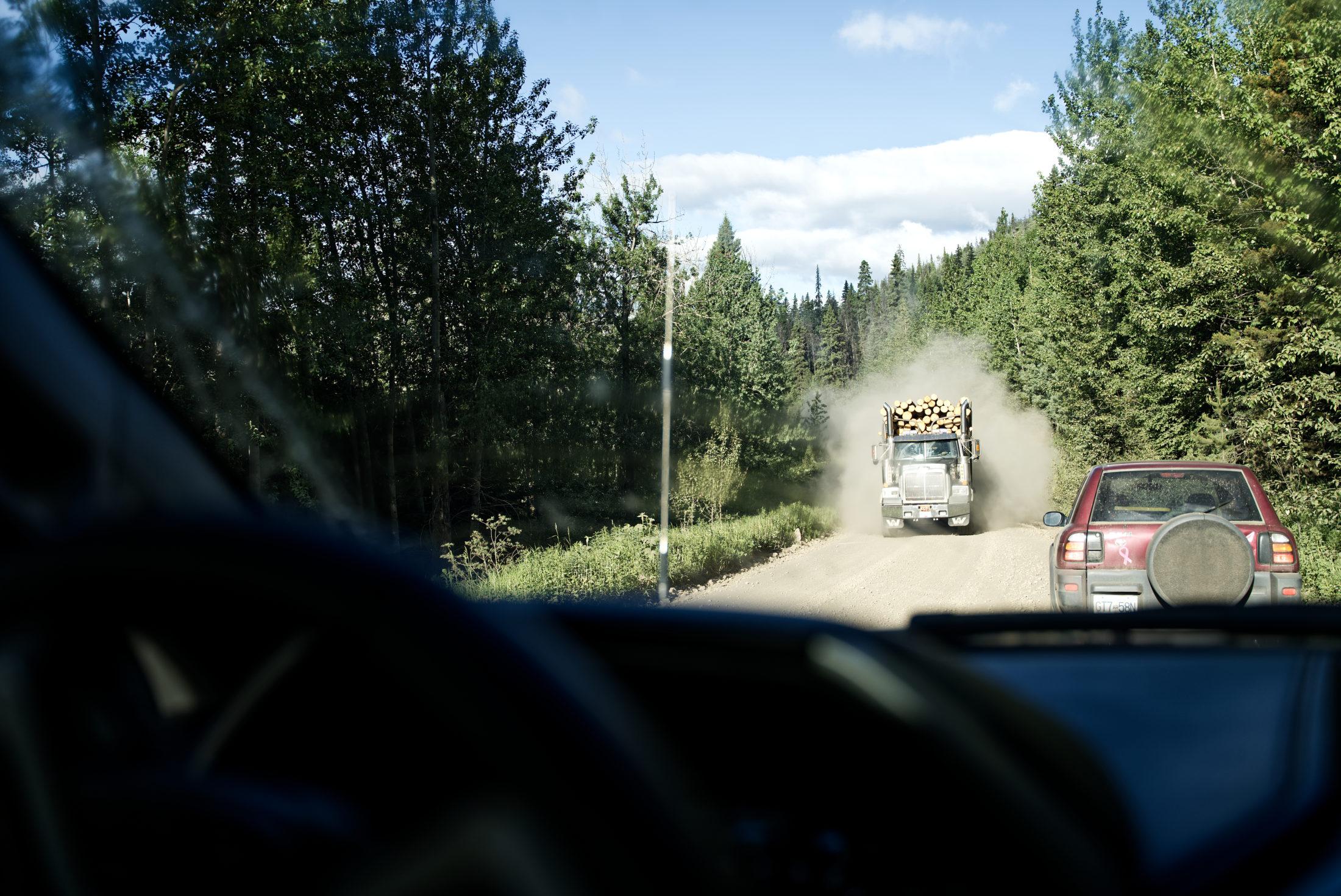 logging truck Peace caribou pen