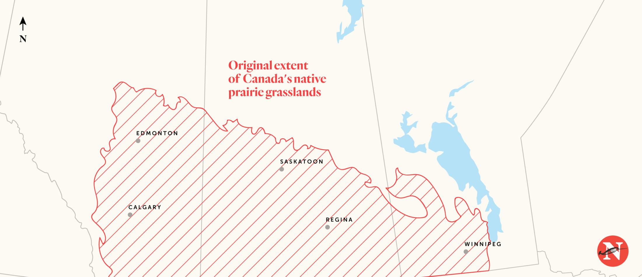Mapa de pastizales de pradera nativa de Canadá