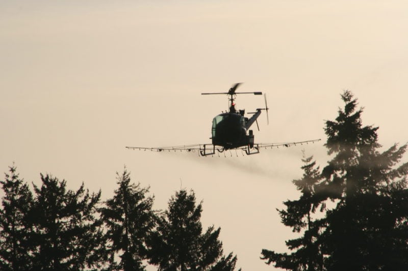 Helicopter spraying