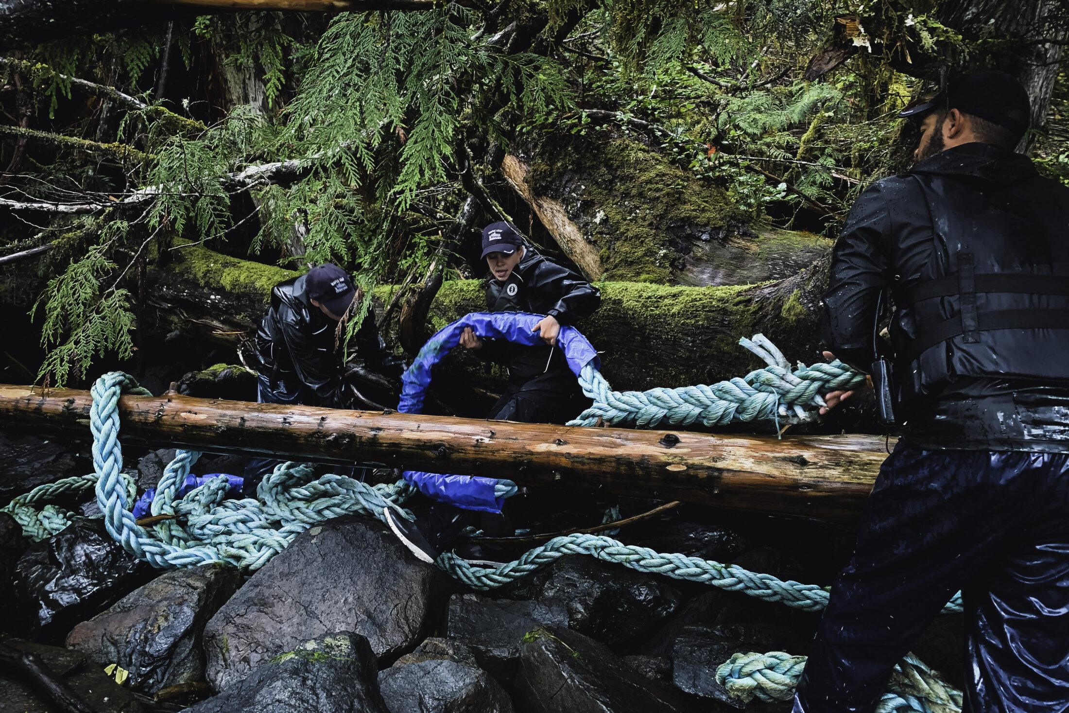 Rope on log, Clean Coast, Clean Waters Initiative