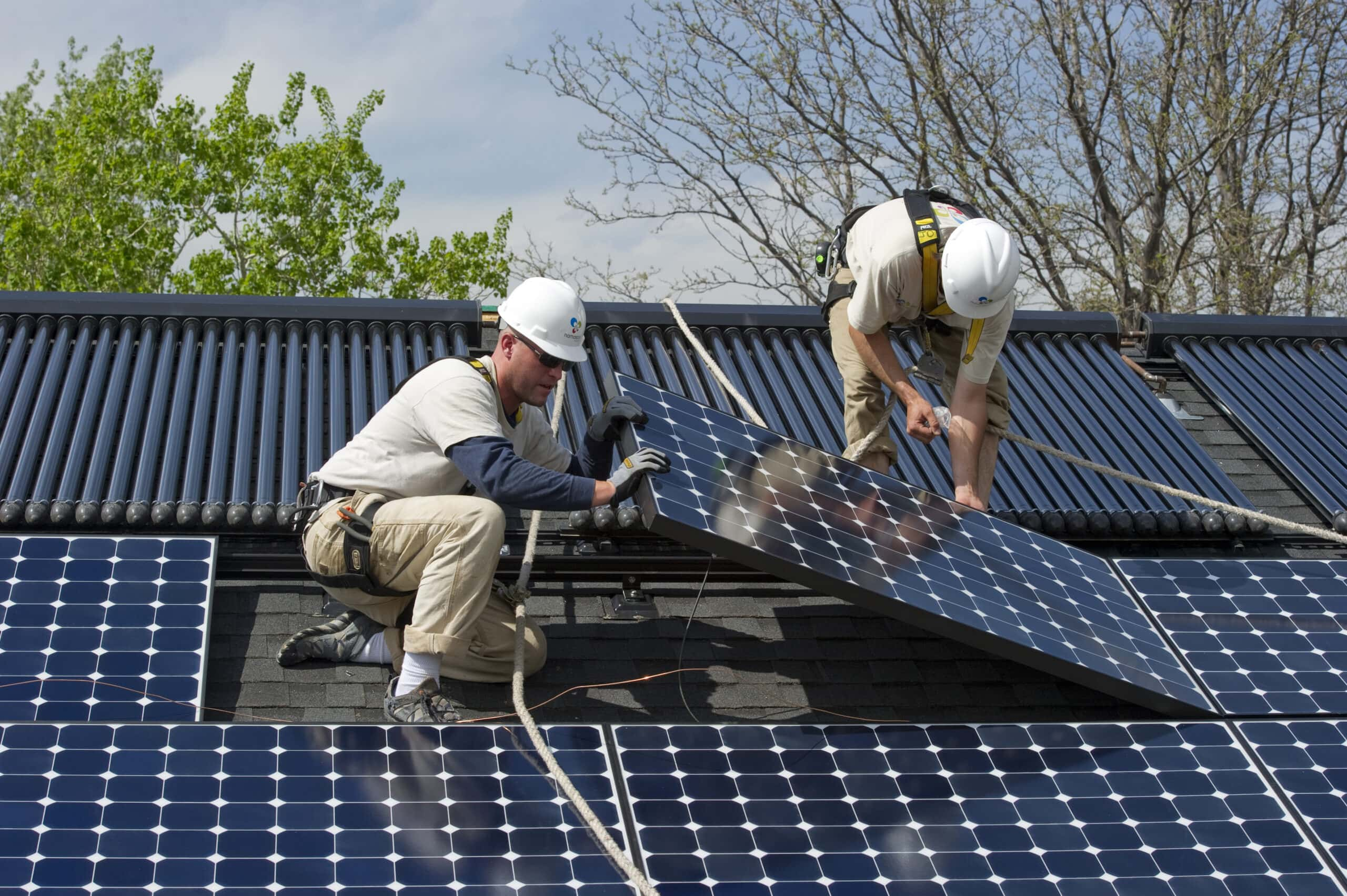 Solar panel installation, Boulder, Colorado.