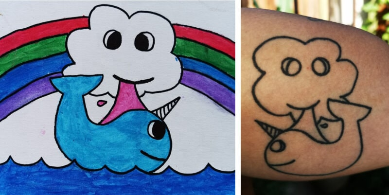 ella rose de groot narwhal drawing and tattoo