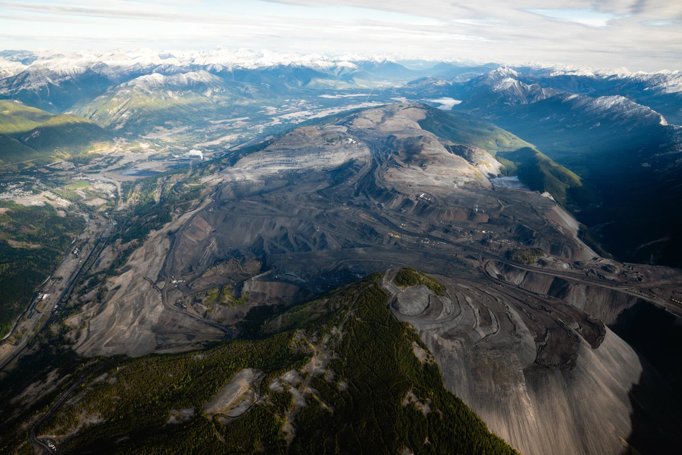 aerial view of mining operations in B.C.'s Elk Valley