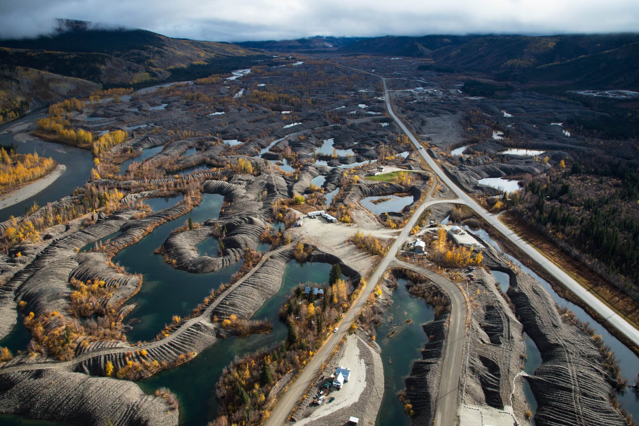 Placer mining Klondike River Dawson City Yukon Peter Mather