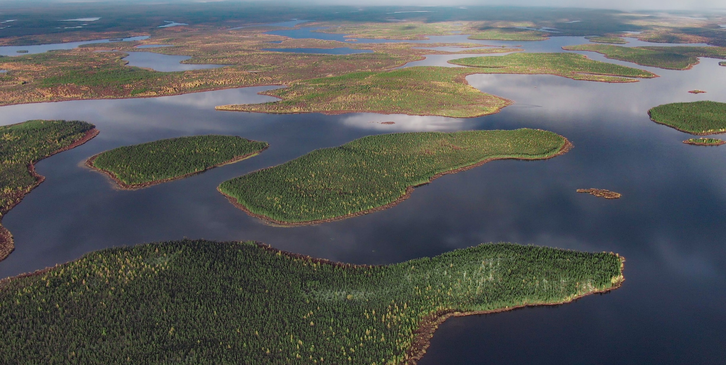 Aerial view of islands in Seal River Watershed