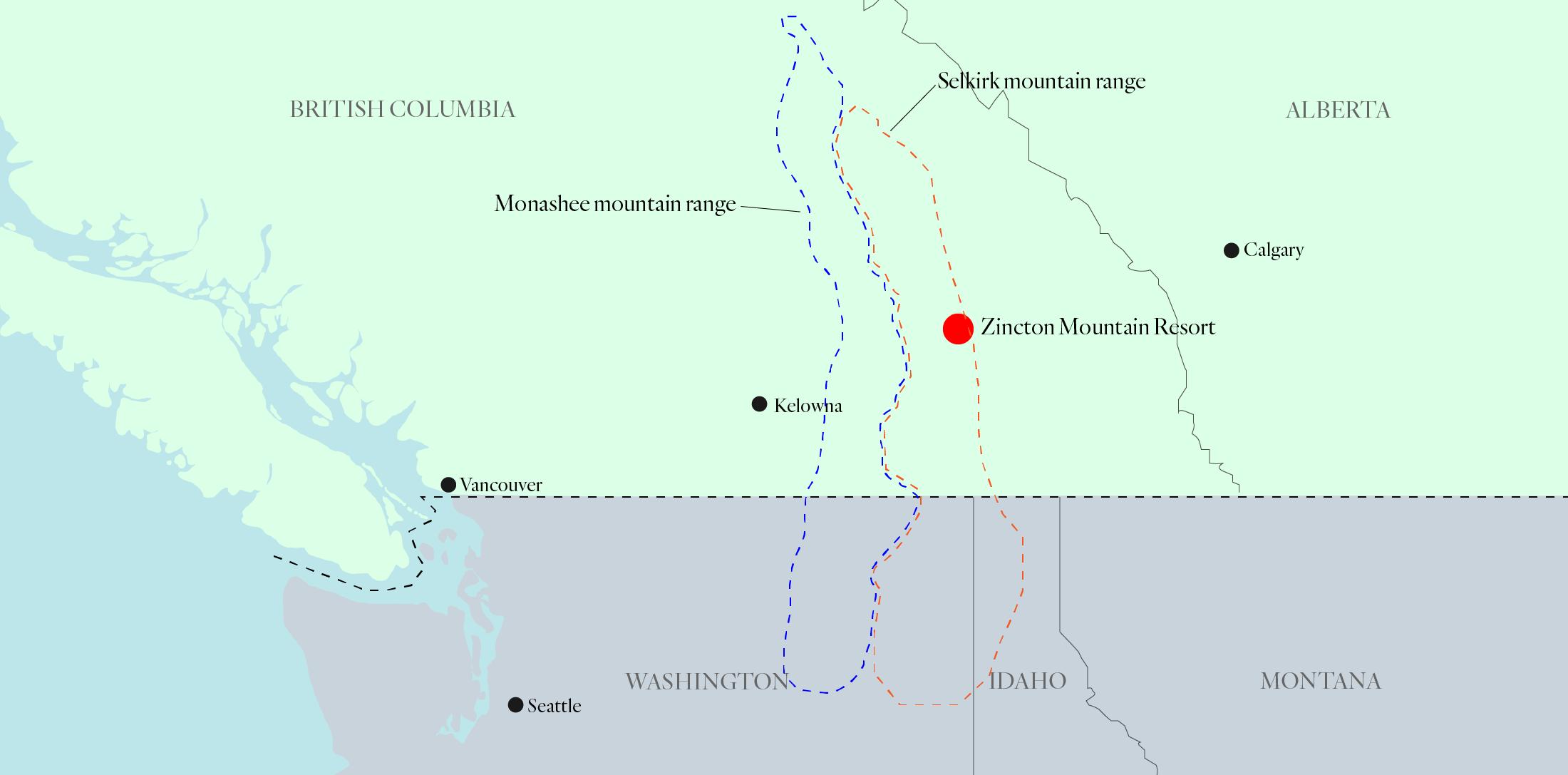 Zincton Mountain Resort location map