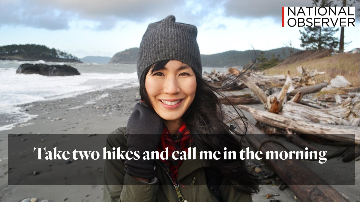 """woman on a beach with text """"take two hikes and call me in the morning"""" from national observer"""
