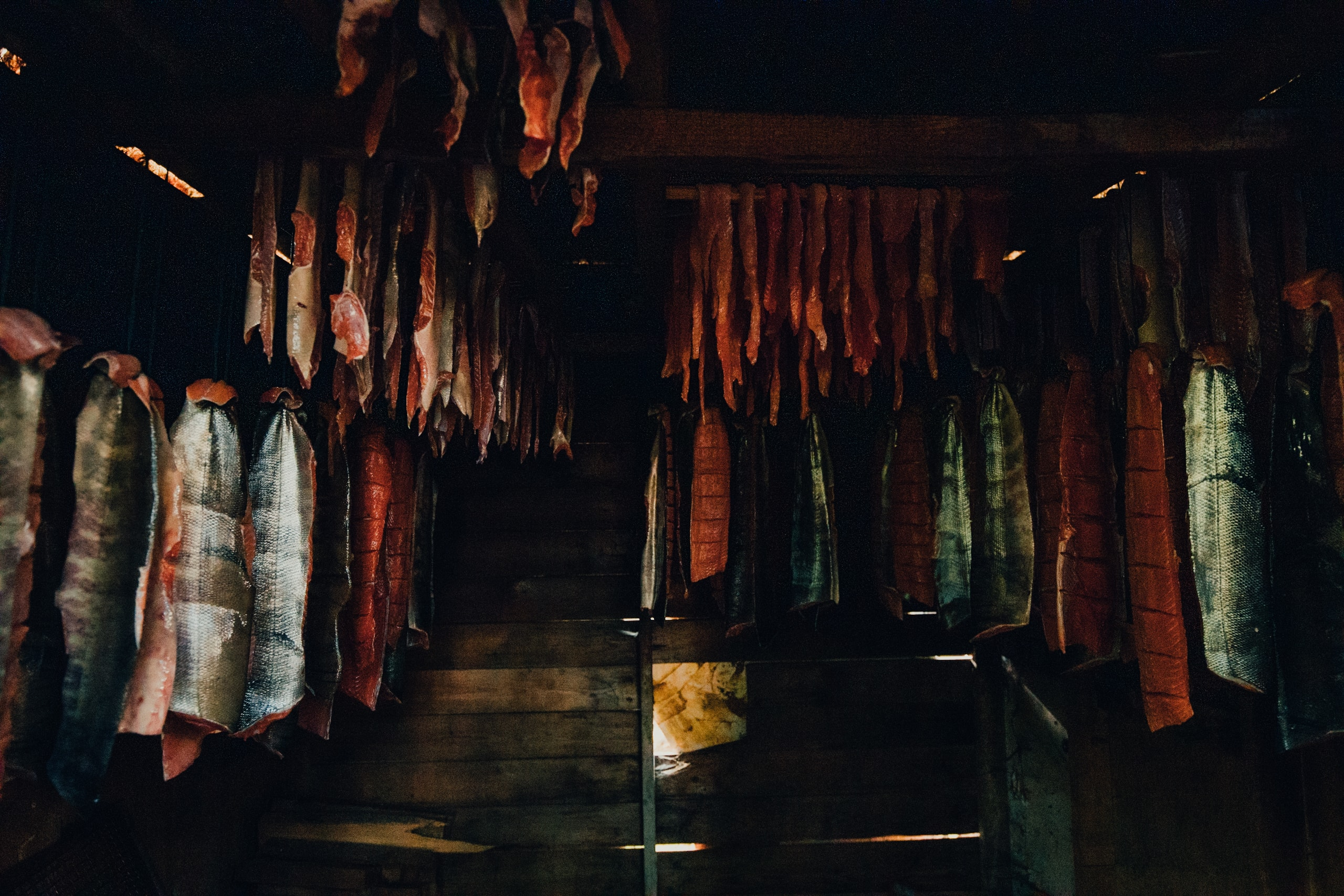 salmon hung up in a smoke house