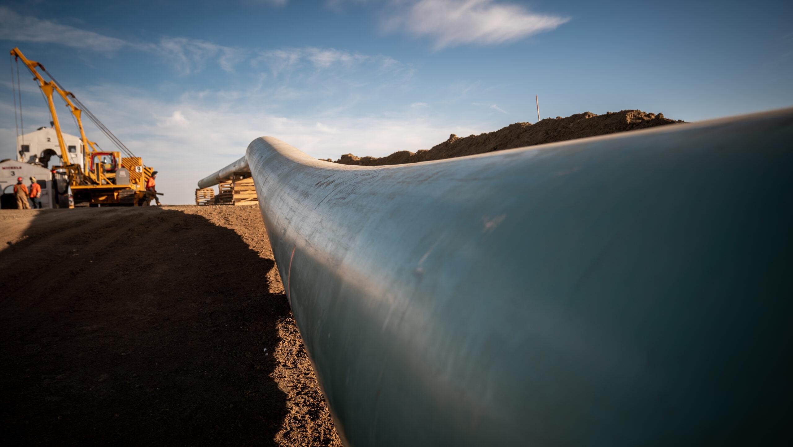 closeup of keystone xl pipeline
