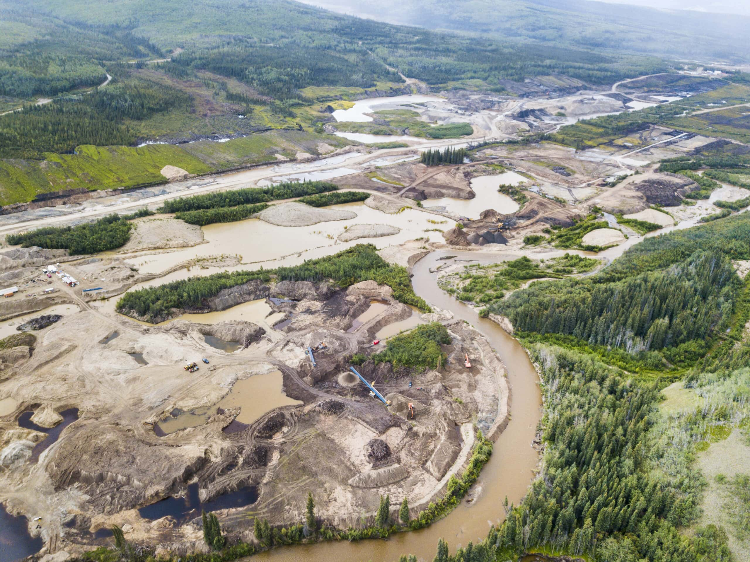 Placer mining Yukon seen from the sky