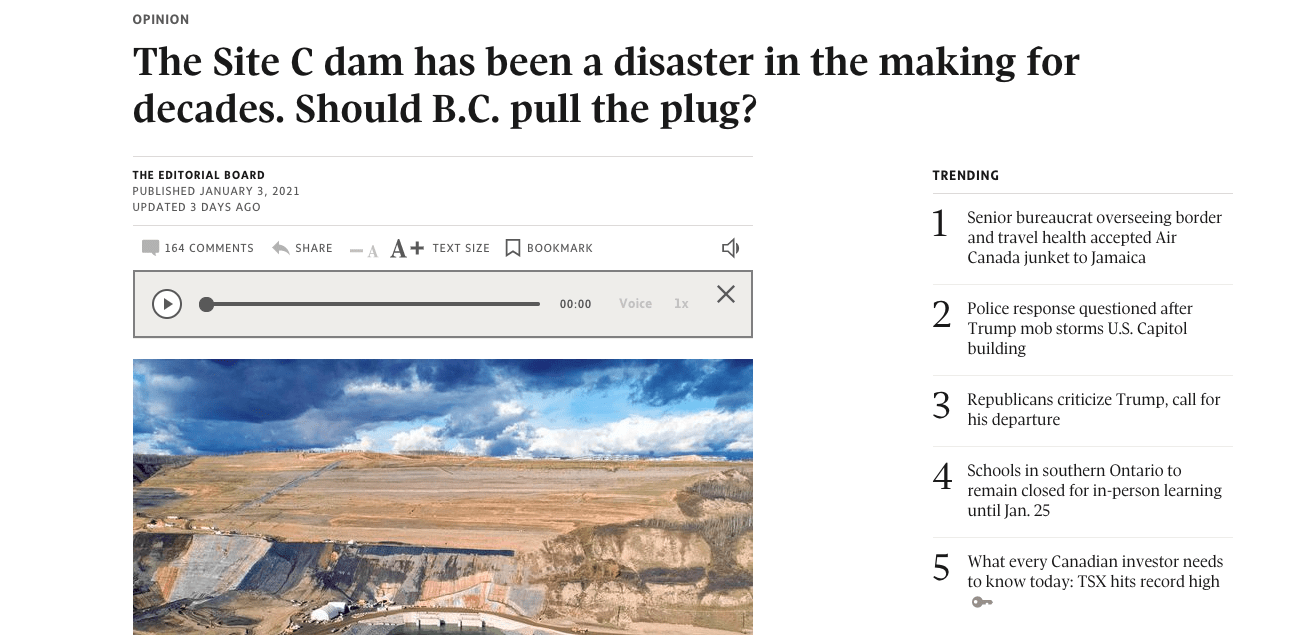 screenshot of globe and mail editorial
