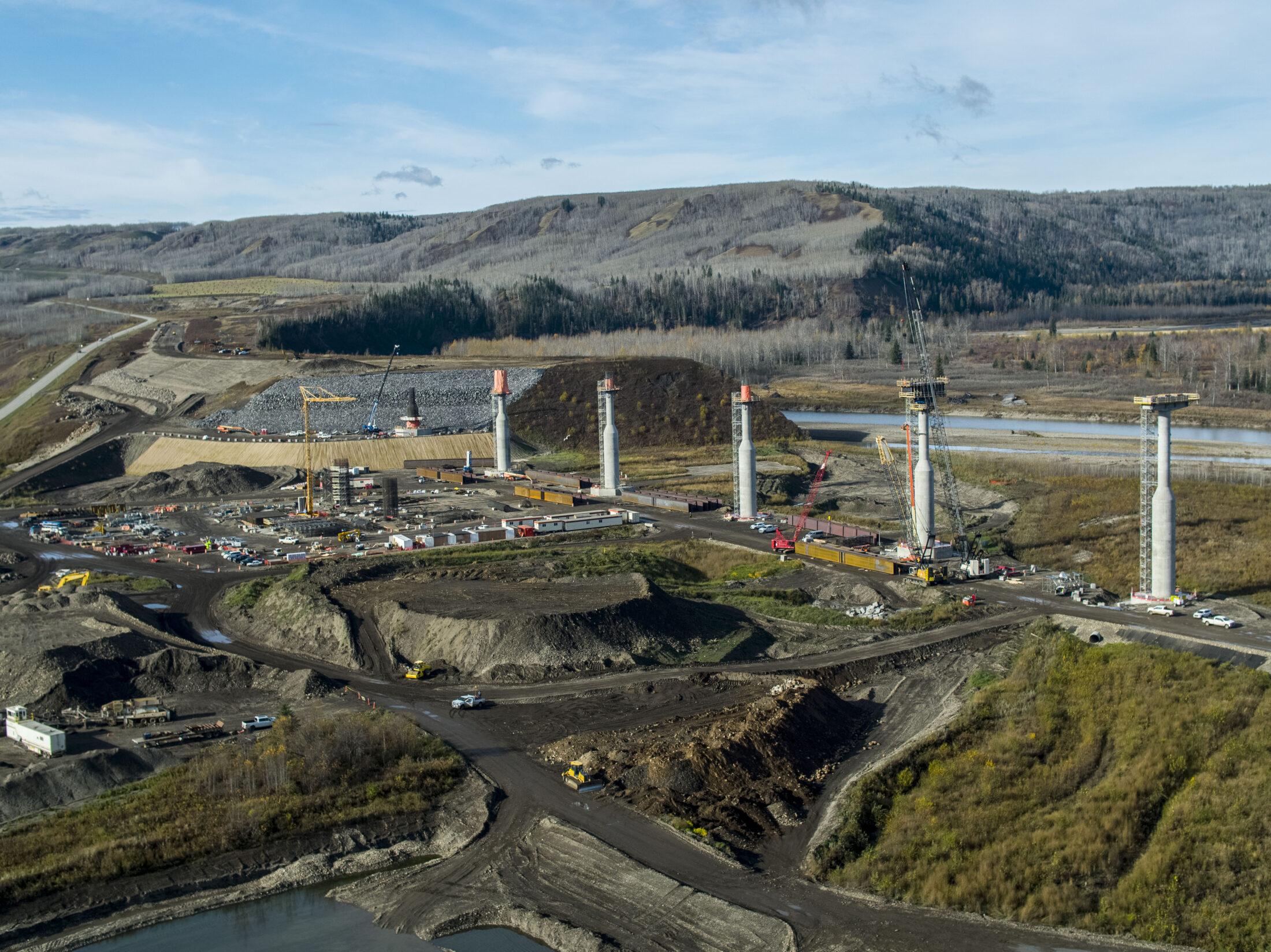 Site C dam construction bridge towers