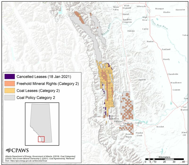 Map of Alberta coal leases in former category 2 lands